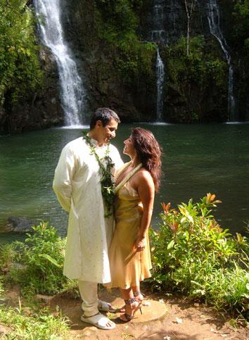 Wedding by a Kauai Waterfall